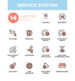 Service station - modern vector single line icons set Stock Photo
