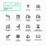 Service station - modern vector single line icons set Royalty Free Stock Images