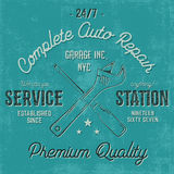 Service station vintage label, tee design graphics, auto repair service typography print. T-shirt stamp, teeshirt Royalty Free Stock Photo