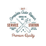 Service station vintage label, tee design graphics, complete auto repair service typography print. Custom t-shirt stamp Royalty Free Stock Images