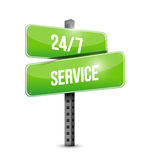 24-7 service street sign concept Stock Photos