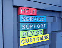 Service, support,advice 3d word concept. On wall Stock Images