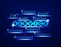 Service,Support,Assistance word concept. On blue background Royalty Free Stock Image