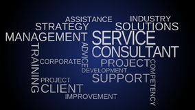 Service, support, consultant word cloud animation - blue background stock footage