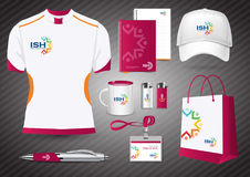 Gift Items, Color promotional souvenirs design for corporate identity with diagonal lines. Stationery set, people logo. Color community group corporate identity vector illustration
