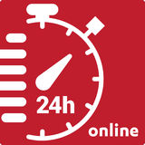 Service and support for customers. 24 hours a day and 7 days a week icon Open around the clock. Stock Image