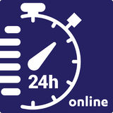 Service and support for customers. 24 hours a day and 7 days a week icon Open around the clock. Royalty Free Stock Photo