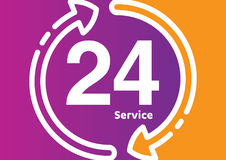 Service and support for customers. 24 hours a day and 7 days a week icon Open around the clock. Royalty Free Stock Image
