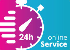 Service and support for customers. 24 hours a day and 7 days a week icon Open around the clock. Stock Photo