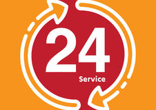 Service and support for customers. 24 hours a day and 7 days a week icon Open around the clock. Stock Photography