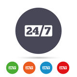 Service and support for customers. 24 hours. Service and support for customers. 24 hours a day and 7 days a week icon. Round colourful buttons with flat icons Royalty Free Stock Photo