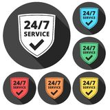 Service and support for customers. 24 hours a day and 7 days a week icon. Vector icon Stock Illustration