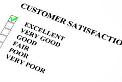 Service survey. Customer satisfaction service form with check boxes. Excellent is checked royalty free stock photos