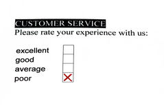 Service survey - poor. Customer satisfaction service form with check boxes. Poor is checked Royalty Free Stock Photos