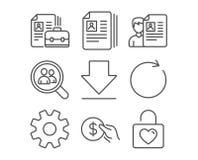Service, synchronisieren und Zahlungsikonen Lebenslauf-Dokumente, Downloading- und Stellezeichen Stockbild