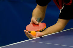 Service on table tennis. Gesture in close up service on table tennis Stock Photos