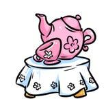 Service tea cup doll table cartoon illustration Stock Photos