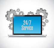 24-7 service tech computer sign concept Royalty Free Stock Images