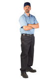 Service Technician Ready to be of Service. A blue collar service technician that could be a plumber, mechanic, heating and air conditioning guy, carpet installer Royalty Free Stock Photo