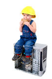 Service technician takes a break Royalty Free Stock Images