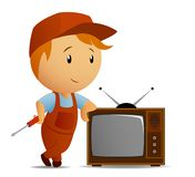 Service technician with tv. Vector illustration of technician with srewdriver who staying rest at tvset Royalty Free Stock Photo