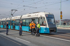 Service technician working with a tram. Stock Image