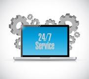 24-7 Service-Technologiecomputer-Zeichenkonzept Lizenzfreie Stockbilder