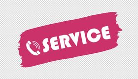 Service Telephone Brushstroke - Pink Vector Illustration - Isolated On Transparent Background royalty free illustration