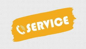 Service Telephone Brushstroke - Yellow Vector Illustration - Isolated On Transparent Background royalty free illustration