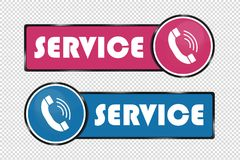 Service Telephone Buttons - Square And Circle Icons - Pink And Blue Illustration - Isolated On Transparent Background. Service Telephone Buttons - Square And vector illustration