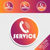 Service Telephone - Different Retro Buttons - Vector Illustration - Isolated On Transparent Background stock illustration