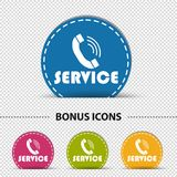 Service Telephone - Four Colorful Round Vector Buttons - Isolated On Transparent Background vector illustration