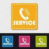 Service Telephone - Four Colorful Square Vector Buttons - Isolated On Transparent Background vector illustration