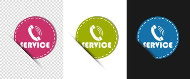 Service Telephone - Three Colorful Round Vector Buttons - Isolated On White, Black And Transparent Background royalty free illustration