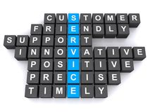 Service. Text 'service' inscribed in white uppercase letters on small blue cubes and related words customers, friendly, support, innovative, positive, precise Royalty Free Stock Photo