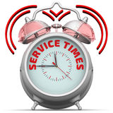 Service times. The alarm clock with an inscription Royalty Free Stock Image
