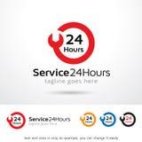 Service 24 timmar Logo Template Design Vector Royaltyfri Illustrationer