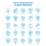 Service Tone Icon Pack bleue - 25 ensembles de nuage d'icône illustration libre de droits