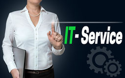 IT service touchscreen is operated by businesswoman background royalty free stock photography