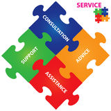 Service Vector. Vector illustration of puzzles with words on the topic of service Stock Photo