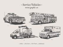 Service vehicles vintage vector illustration set Stock Photography