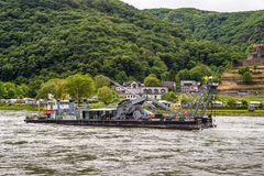 Service vessel Carl Straat on the Rhine River Stock Photos