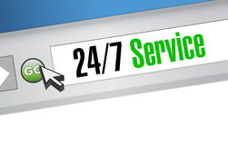 24-7 service website sign concept Royalty Free Stock Photos