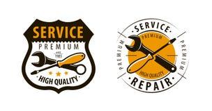 Service, Werkstattlogo oder Aufkleber Reparieren Sie Ikone Vektor Stockfoto