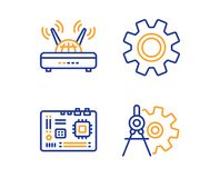Service, Wifi and Motherboard icons set. Cogwheel dividers sign. Vector royalty free illustration