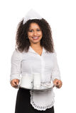 Service woman is holding a tablet with coffee Stock Photography