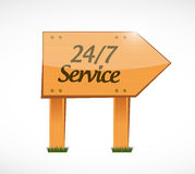 24-7 service wood sign concept illustration. Design icon graphic Royalty Free Stock Images