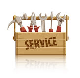 Service wooden box with construction tools Stock Photography