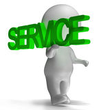 Service Word Carried By 3d Character Showing Maintenance And Rep Royalty Free Stock Photos