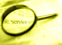 Service word with magnifier royalty free stock photo